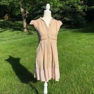 Rare Free People Vintage Button Down Maxi Dress